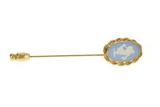 Gold Filled Nymph Satyr Angel Wedgwood Ceramic Stick Pin