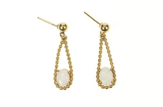 Gold Filled Opal Oval Rope Loop Drop Dangle Earrings