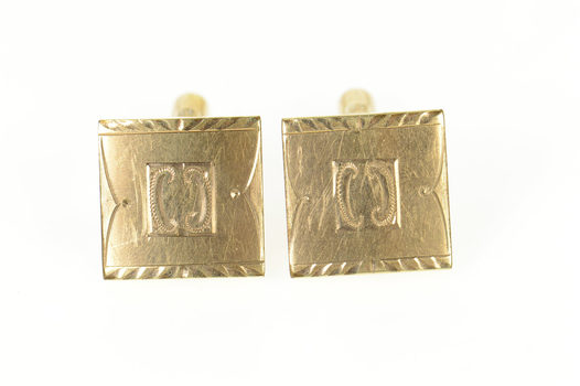 Gold Filled Ornate Art Deco Etched Square Men's Cuff Links