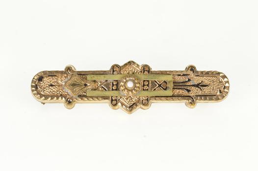Gold Filled Ornate Decorative Ornamental Victorian Bar Pin/Brooch