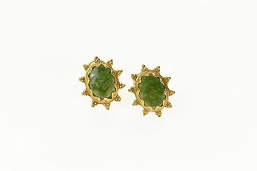 Gold Filled Oval Nephrite Sun Burst Stud Earrings