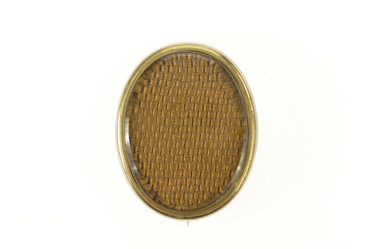 Gold Filled Oval Victorian Elaborately Woven Hair Mourning Pin/Brooch
