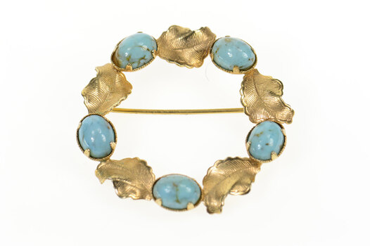 Gold Filled Retro 1960's Sim. Turquoise Leaf Wreath Pin/Brooch