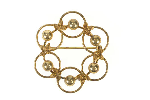 Gold Filled Retro Ball Leaf Ring Round 1960's Statement Pin/Brooch