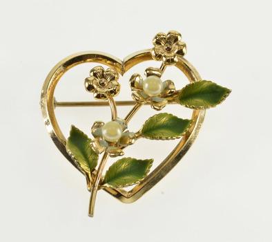 Gold Filled Retro Green Enamel Pearl* Floral Bouquet Heart Pin/Brooch