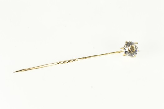 Gold Filled Retro Round Cubic Zirconia Solitaire Stick Pin