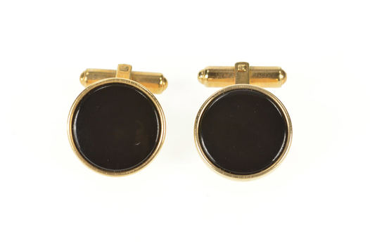Gold Filled Round Black Onyx 1960's Simple Men's Cuff Links