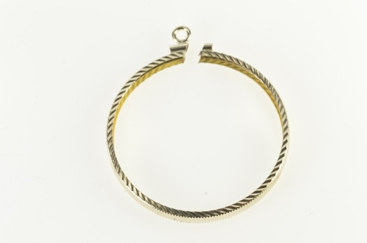 Gold Filled Round Coin Grooved Pattern Bezel Pendant