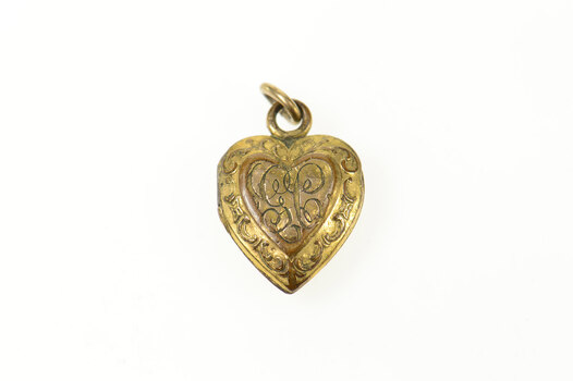 Gold Filled Scroll Etched GC Monogram Heart Puffy Locket Charm/Pendant