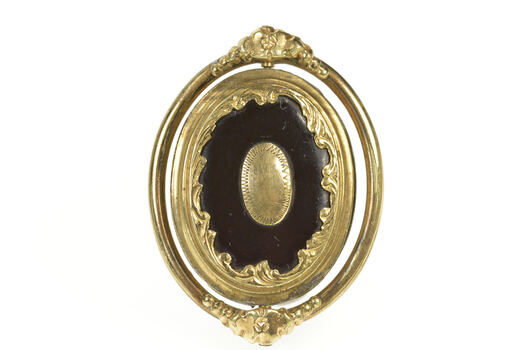 Gold Filled Victorian Black Onyx Spinning Mourning Hair Pin/Brooch