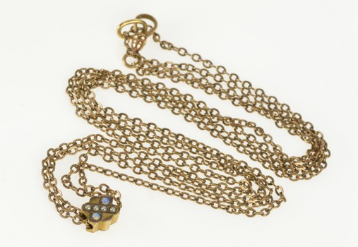 """Gold Filled Victorian Opal Pearl Slide Pocket Watch Chain Necklace 24"""""""