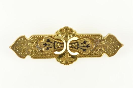 Gold Filled Victorian Ornate Black Enamel Etched Scroll Pin/Brooch