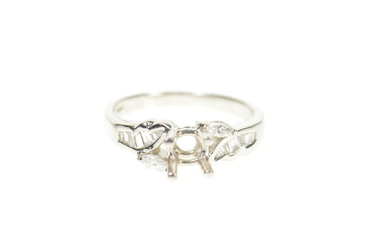 Platinum 0.29 Ctw Ornate Diamond Engagement Setting Ring, Size 6.5