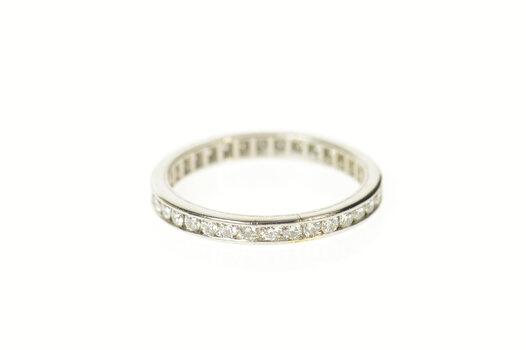 Platinum 0.51 Ctw Diamond Eternity Wedding Band Ring, Size 7.25