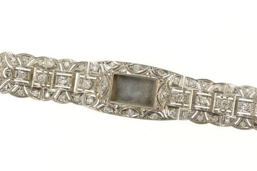 "Platinum 1.04 Ctw Art Deco Diamond Watch Case Bracelet 6.75"""