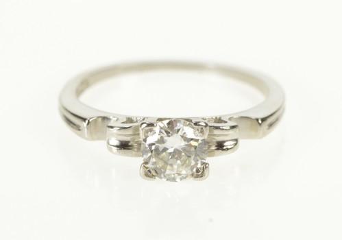 Platinum 1930's Classic Diamond Solitaire Engagement Ring, Size 4.75