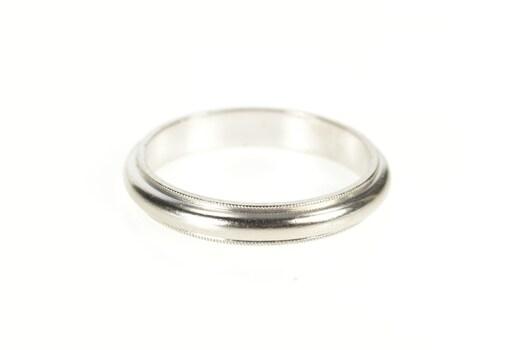 Platinum 4.2mm Classic Milgrain Trim Men's Wedding Band Ring, Size 11.75