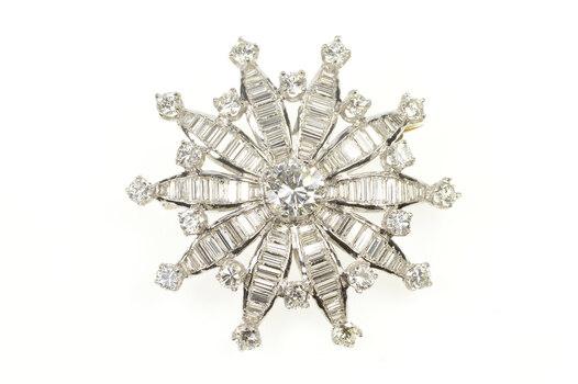 Platinum 4.36 Ctw Diamond Flower Snowflake Cluster Pin/Brooch