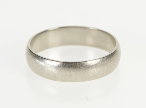 Platinum 5 mm Rounded Classic Men's Wedding Band Ring, Size 10
