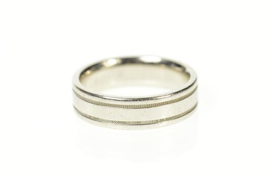 Platinum 6.0mm Scott Kay Grooved Men's Wedding Band Ring, Size 8.5