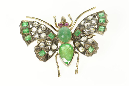 Platinum 9.80 Ctw Victorian Diamond Emerald Butterfly Pin/Brooch