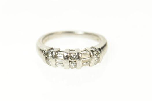 Platinum Baguette Round Diamond Wedding Band Ring, Size 5.25