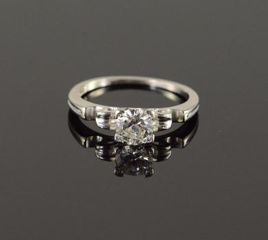 Platinum Classic 0.52 CT Diamond Engagement Solitaire Ring, Size 4.75