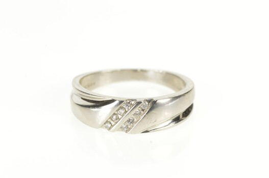 Platinum Diamond Grooved Channel Inset Wedding Band Ring, Size 8.75