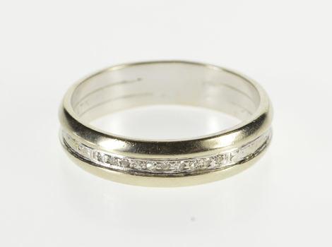 Platinum Diamond Inset Patterned Fancy Men's Wedding Band Ring, Size 9.75