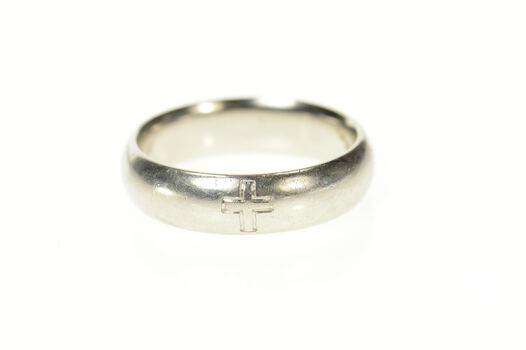 Platinum Men's Cross Design Christian Wedding Band Ring, Size 10.5