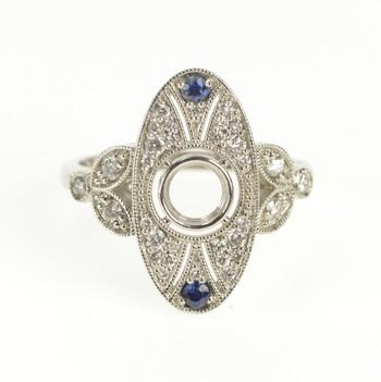 Platinum Oval Pave Diamond Sapphire Engagement Setting Ring, Size 6.5