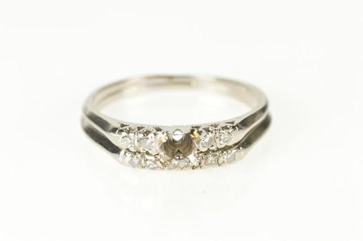 Platinum Retro Diamond Engagement Bridal Set Ring, Size 7.75