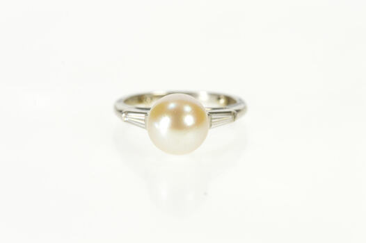 Platinum Retro Pearl Baguette Diamond Engagement Ring, Size 5