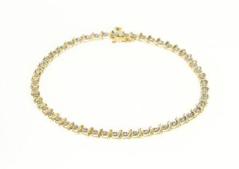 "Starts @ Cost - 10K 0.16 Ctw Diamond Starburst Wavy Link Tennis Yellow Gold Bracelet 7"""