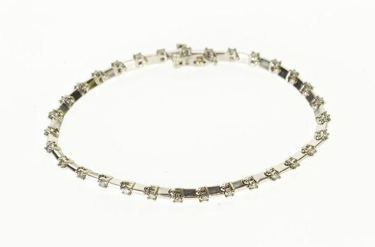 "Starts @ Cost - 10K 0.93 Ctw Diamond Inset Bar Link Tennis White Gold Bracelet 7"""