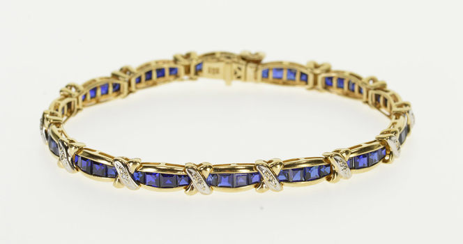 "Starts @ Cost - 10K 5.74 Ctw Syn. Sapphire Encrusted Diamond X Tennis Yellow Gold Bracelet 7"""