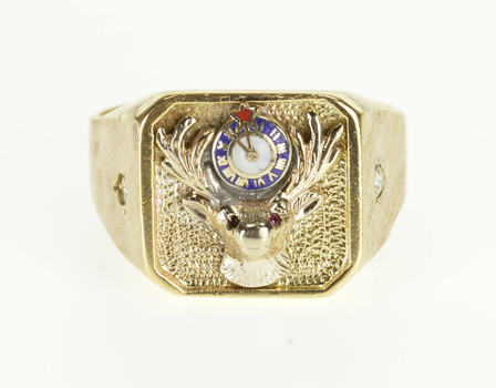 Starts @ Cost - 10K Diamond Accented Stag Enamel Clock Men's Yellow Gold Ring, Size 13