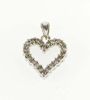 Starts @ Cost - 10K Diamond Encrusted Heart Cut Out White Gold Pendant