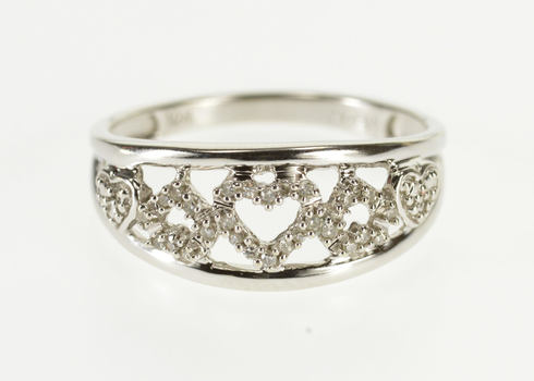 Starts @ Cost - 10K Diamond Encrusted Heart Patterned Band White Gold Ring, Size 6.5