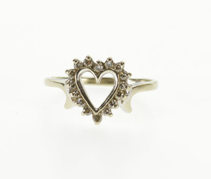 Starts @ Cost - 10K Diamond Halo Heart Cut Out Sweetheart Promise White Gold Ring, Size 5.25