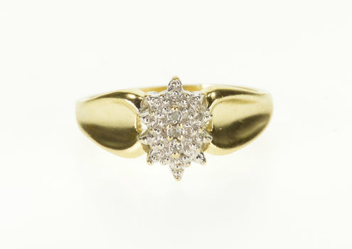 Starts @ Cost - 10K Diamond Inset Pointed Cluster Concave Curved Yellow Gold Ring, Size 6.75
