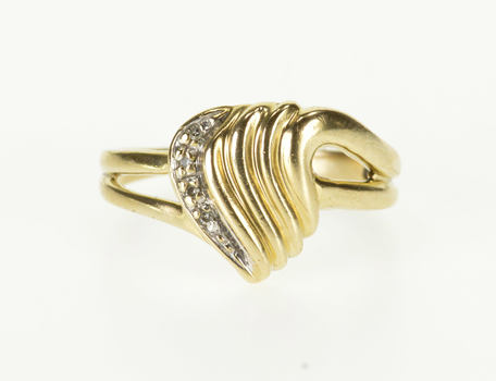 Starts @ Cost - 10K Diamond Inset Scalloped Pointed Wavy Bypass Yellow Gold Ring, Size 8.25