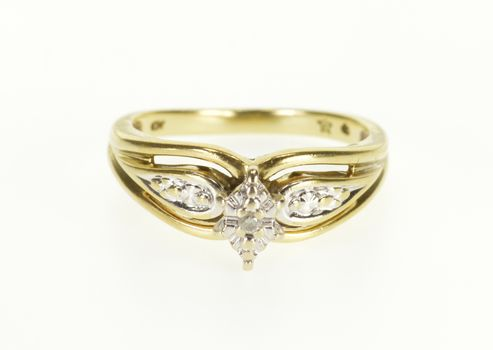 Starts @ Cost - 10K Diamond Pointed Grooved Two Tone Engagement Yellow Gold Ring, Size 6.75