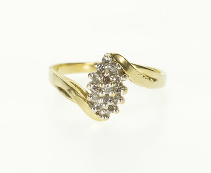 Starts @ Cost - 10K Diamond Pointed Oval Cluster Encrusted Bypass Yellow Gold Ring, Size 6.75