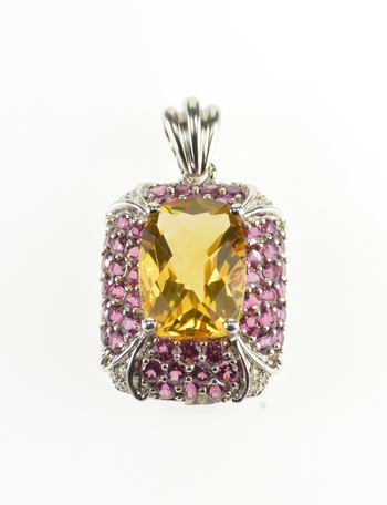 Starts @ Cost - 10K Faceted Citrine* Ruby* Encrusted Diamond Accented Yellow Gold Pendant
