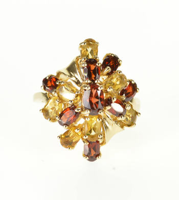 Starts @ Cost - 10K Garnet Citrine Encrusted Cluster Oval Prong Yellow Gold Ring, Size 8