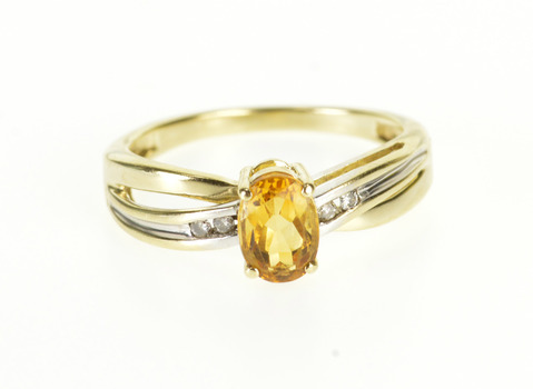 Starts @ Cost - 10K Oval Citrine Diamond Channel Wavy Criss Cross Yellow Gold Ring, Size 6.25