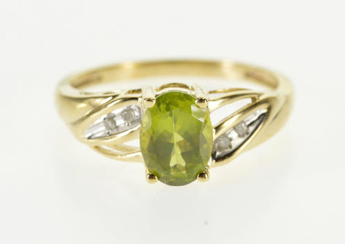 Starts @ Cost - 10K Oval Peridot Diamond Accented Grooved Yellow Gold Ring, Size 7