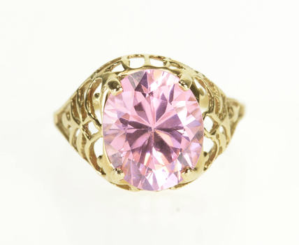 Starts @ Cost - 10K Oval Pink Cubic Zirconia Scroll Lattice Design Yellow Gold Ring, Size 7.5