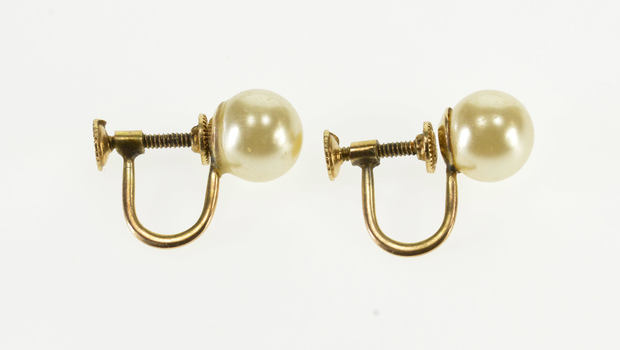 Starts @ Cost - 10K Round Pearl Inset Screw Back Yellow Gold EarRings
